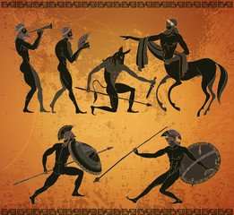 Ancient Greece scene. Ancient Greek mythology. Centaur, people, gods of an Olympus. Classical Ancient Greek style. Black figure pottery