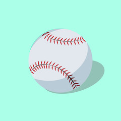 White baseball on green background