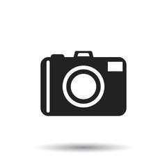 Camera icon on white background. Flat vector illustration.