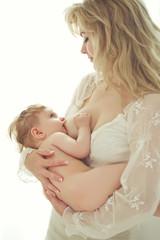 A woman is breast-feeding
