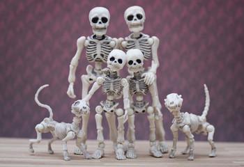 Skeleton family portrait with pet