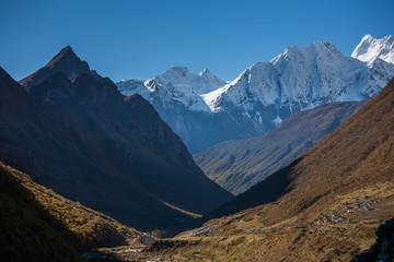Valley on Manaslu circuit trek in Nepal