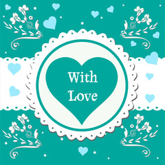 Colorful greeting with blue hearts and the text with love written in the middle of the image on a big heart