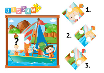 Jigsaw puzzle game with kids on sailboat