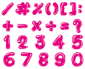 Pink font design for numbers and signs