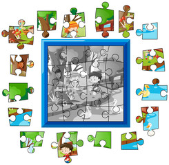 Jigsaw puzzle game template with kids in park