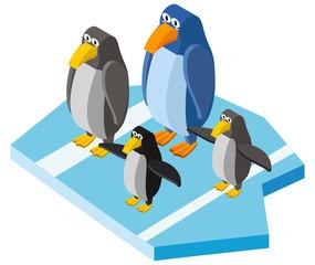 3D design for cute penguins