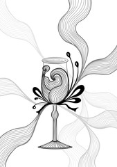 Beautiful abstract wineglass with lace flower bows black on white