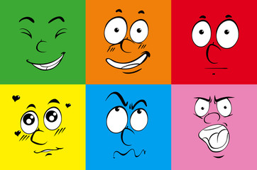 Colorful background with six faces