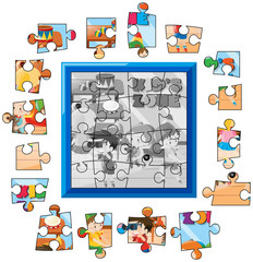 Jigsaw puzzle game template kids playing