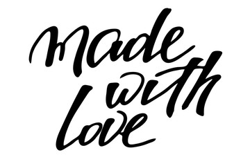 Made with love. Handwritten black text isolated on white background, vector. Words are on the different layers