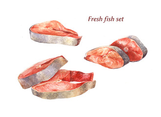 Red fish in watercolor. Illustration isolated on white. Raw food