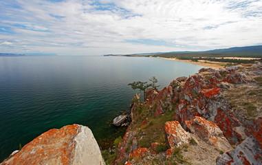 Rock Shaman Stone and cape Burhan on Olkhon Island, Eastern Siberia, Irkutsk region.Baikal lake.