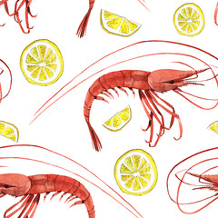 Watercolor illustration of shrimp