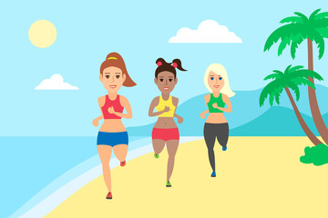 three beautiful sporty women running on the beach.healthy lifestyle