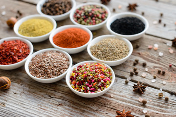 Various spices on wooden spoons. Food ingredients