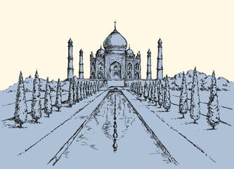 Taj Mahal in India. Vector sketch
