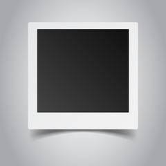Blank retro photo frame on grey background. Vector illustration.