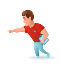 Personal fitness trainer or bodybuilder cartoon character. Vector illustration