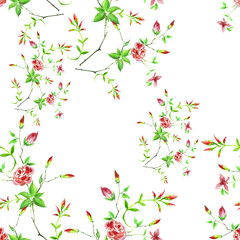 Vintage watercolor pattern - flowers, roses branch with buds, leaves. Seamless background.