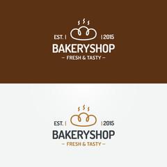 Bakery shop logo set modern line style for use bread house, loaf store, food market, cafe, restaurant etc. Vector Illustration