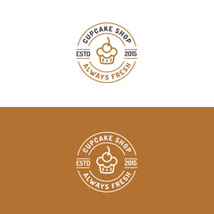 Cupcake shop logo set modern line style for use bakery store, cake market, cafe, restaurant etc. Vector Illustration