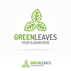Green leaves logo set line style for use natural product, alternative medicine, nature firm, organic shop, ecology company, green unity, garden, farming, forest etc. Vector Illustration