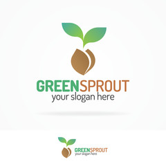 Green sprout logo set modern color style with silhouette leaves and seed for your eco company, agriculture, nature firm, ecology, healthy organic and farm fresh food etc. Vector Illustration