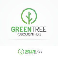 Tree logo set green color for use nature firm, organic shop, ecology company, natural product, alternative medicine, green unity, garden, farming, forest etc. Vector Illustration