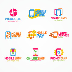 Phone logo set color style use for smartphone shop and service, mobile pay, store, fix and repair. Perfect for your business design. Vector Illustration