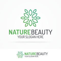 Nature beauty logo set with leaves green color for use ecology company, natural product, organic shop, alternative medicine, green unity, garden, farming, forest etc. Vector Illustration