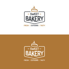 Sweet bakery logo set modern line style for use cupcake shop, pie store, cake market, cafe, restaurant etc. Vector Illustration