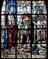 Fototapete - Stained Glass - Jesus and Pontius Pilate