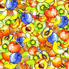 Seamless pattern with a pattern of fruits, peach, apple, kiwi, citrus, orange, apricot, plum. Made by watercolor.