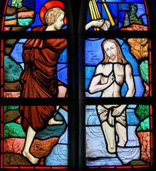 Wall Mural - Stained Glass - Baptism of Jesus by Saint John the Baptist