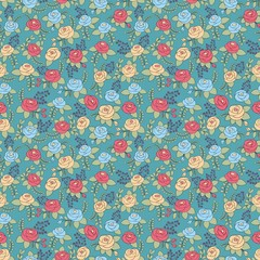 Stylized roses. Vector seamless pattern