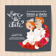 Wedding invitation card templates The bride in the embrace groom