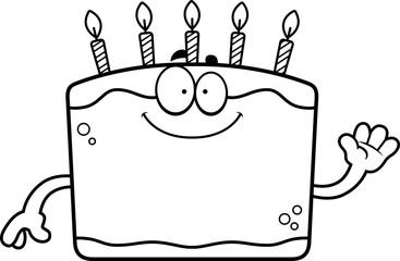 Cartoon Birthday Cake Waving
