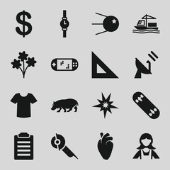 Set of 16 isolated filled icons