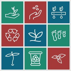 Set of 9 environmental outline icons