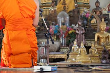 Monk Evening Chant in Prayer room
