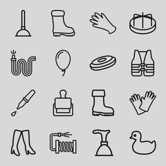 Set of 16 rubber outline icons