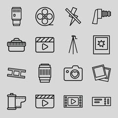 Set of 16 film outline icons