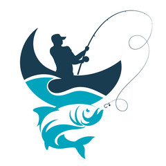 Fishing design. Fisherman catches from the boat on a wave.