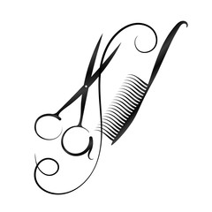 A symbol for a hairdresser and beauty salon. Scissors and comb silhouette.