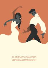 Couple of flamenco dancers. Vector Illustration