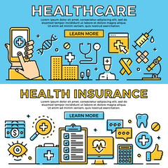 Healthcare, health insurance thin line banners set. Modern flat design art concept, line icons set. Premium quality. Vector illustration