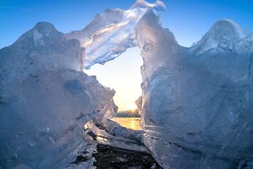 The sun sets of glacier in winter,Korea