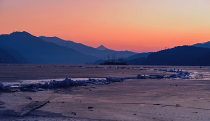 The sun sets of glacier in winter,Korea
