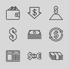 Set of 9 exchange outline icons